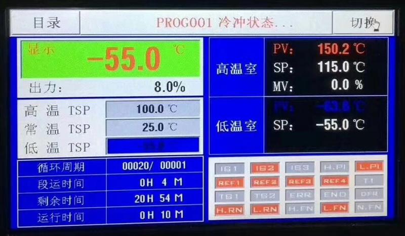 高低温循环冲击试验箱控制器画面